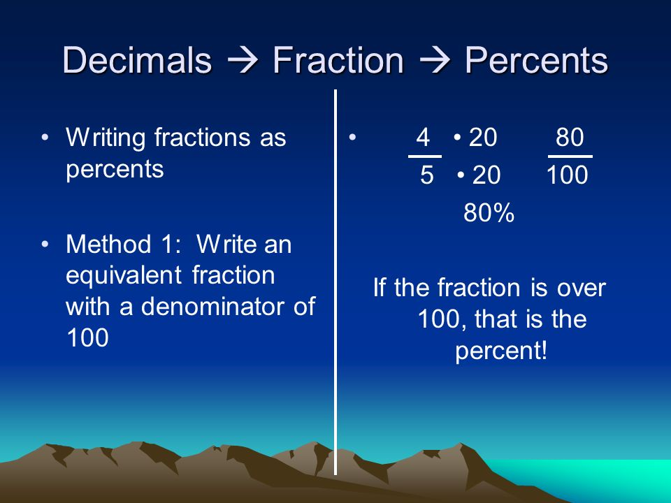 how to make a fractions percentage