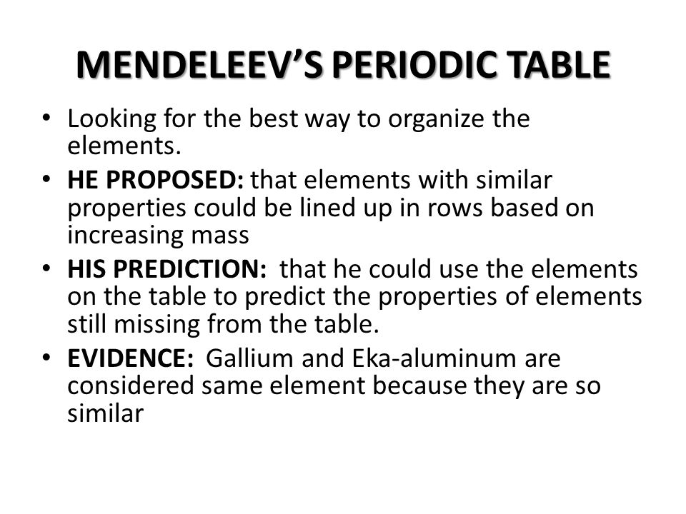 Periodic Table mendeleevs periodic table helped predict properties of : PHYSICAL SCIENCE CHAPTER 5 - ppt video online download