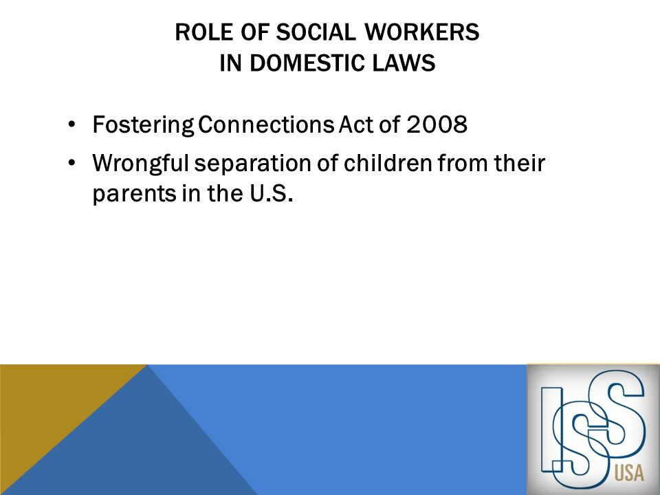Role of social workers in Domestic laws