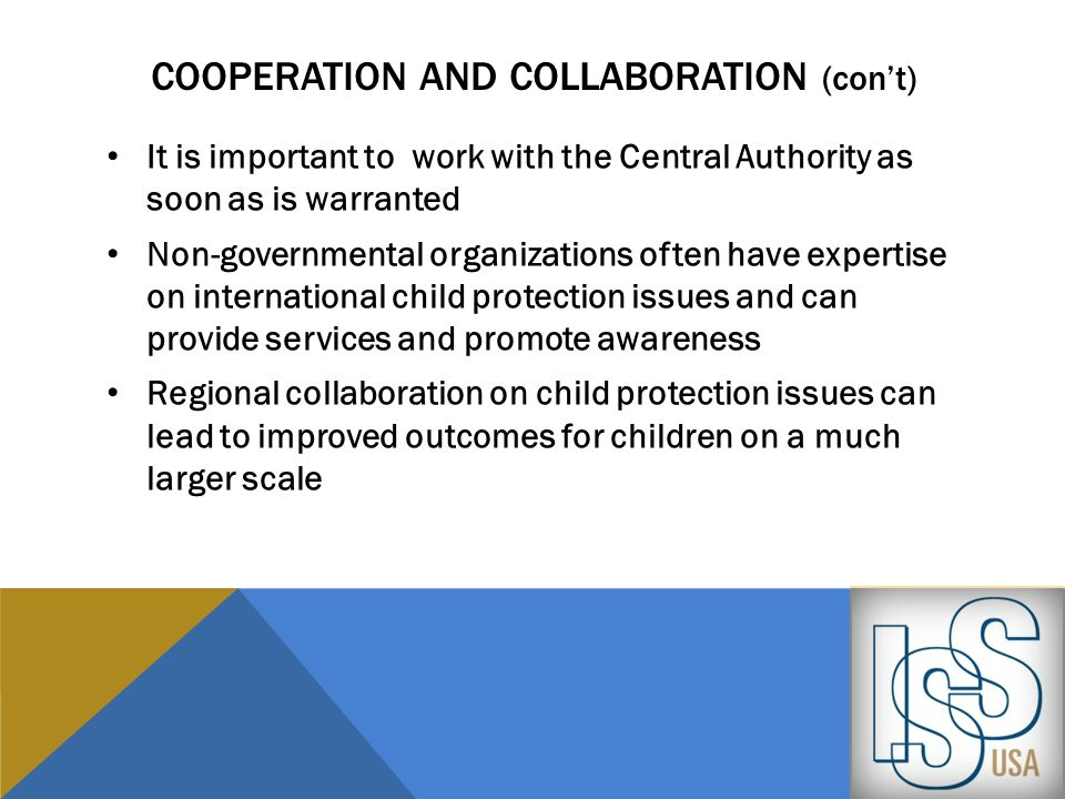cooperation and Collaboration (con't)