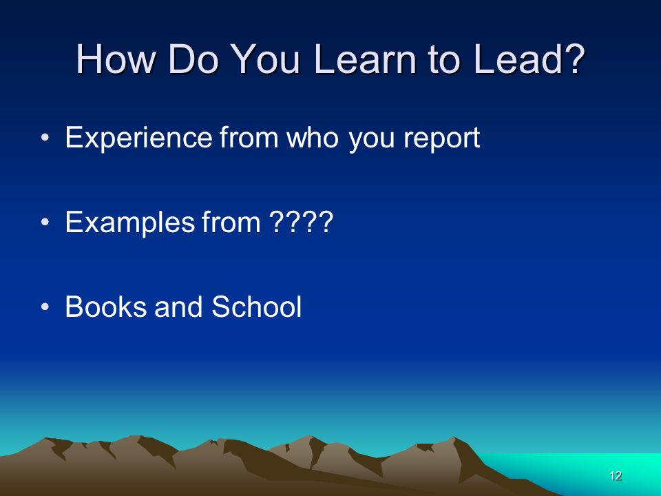 How Do You Learn to Lead Experience from who you report