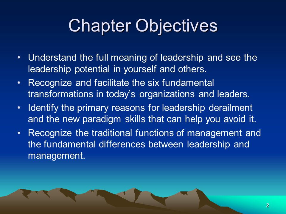 Chapter Objectives Understand the full meaning of leadership and see the leadership potential in yourself and others.