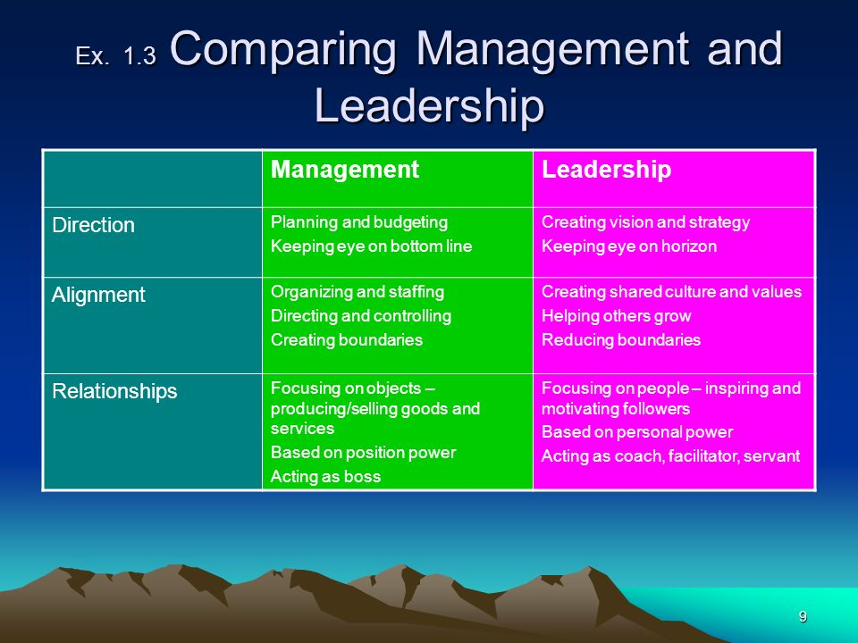 Ex. 1.3 Comparing Management and Leadership