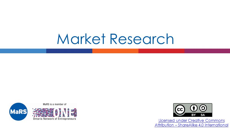 Market Research Licensed under Creative Commons