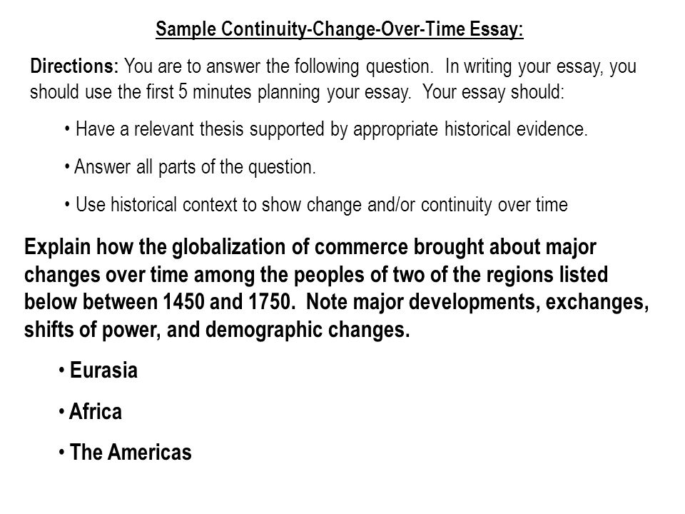 Change & Continuity Over Time Essay. - ppt download
