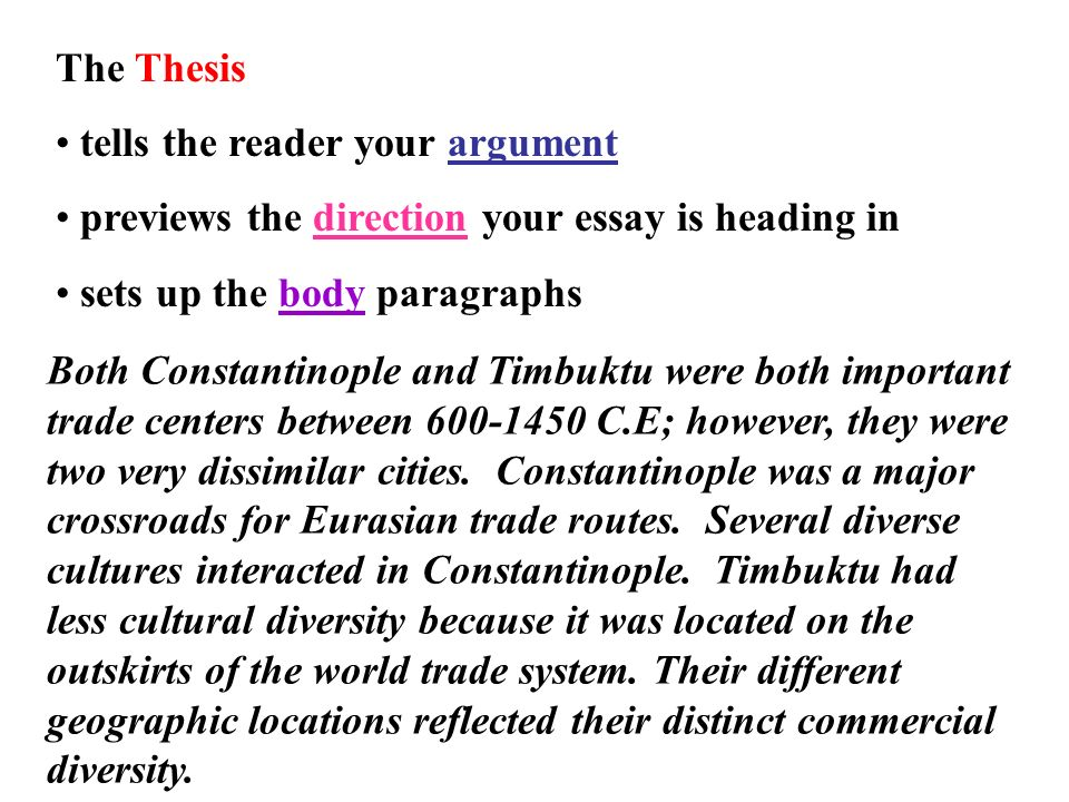 change continuity over time essay ppt  the thesis tells the reader your argument previews the direction your essay is heading in