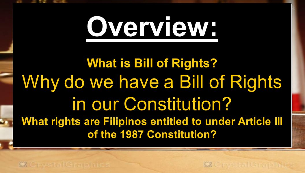 an overview of the bill of rights Overview on december 15, 1791, the united states congress was assembled at congress hall in philadelphia when the first ten amendments to the constitution of the united states were ratified these ten amendments, which are referred to as the bill of rights, guarantee all americans many personal freedoms and limit the power of the government.