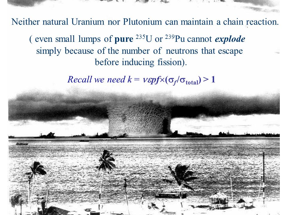 Neither natural Uranium nor Plutonium can maintain a chain ...  Neither natural...