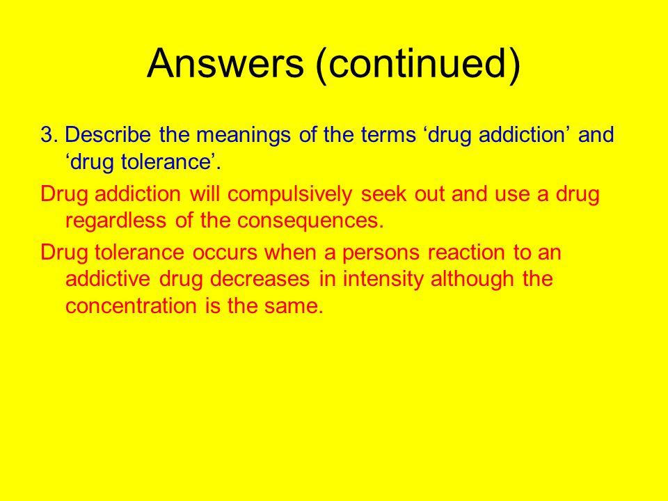 drug addiction terms
