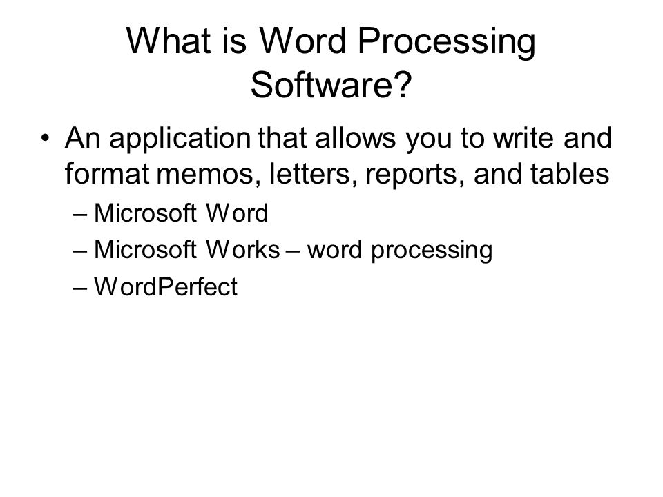 word processing spreadsheet software What are the advantages of using a spreadsheet a:  popular examples of productivity software include word processing programs, graphic design programs,.