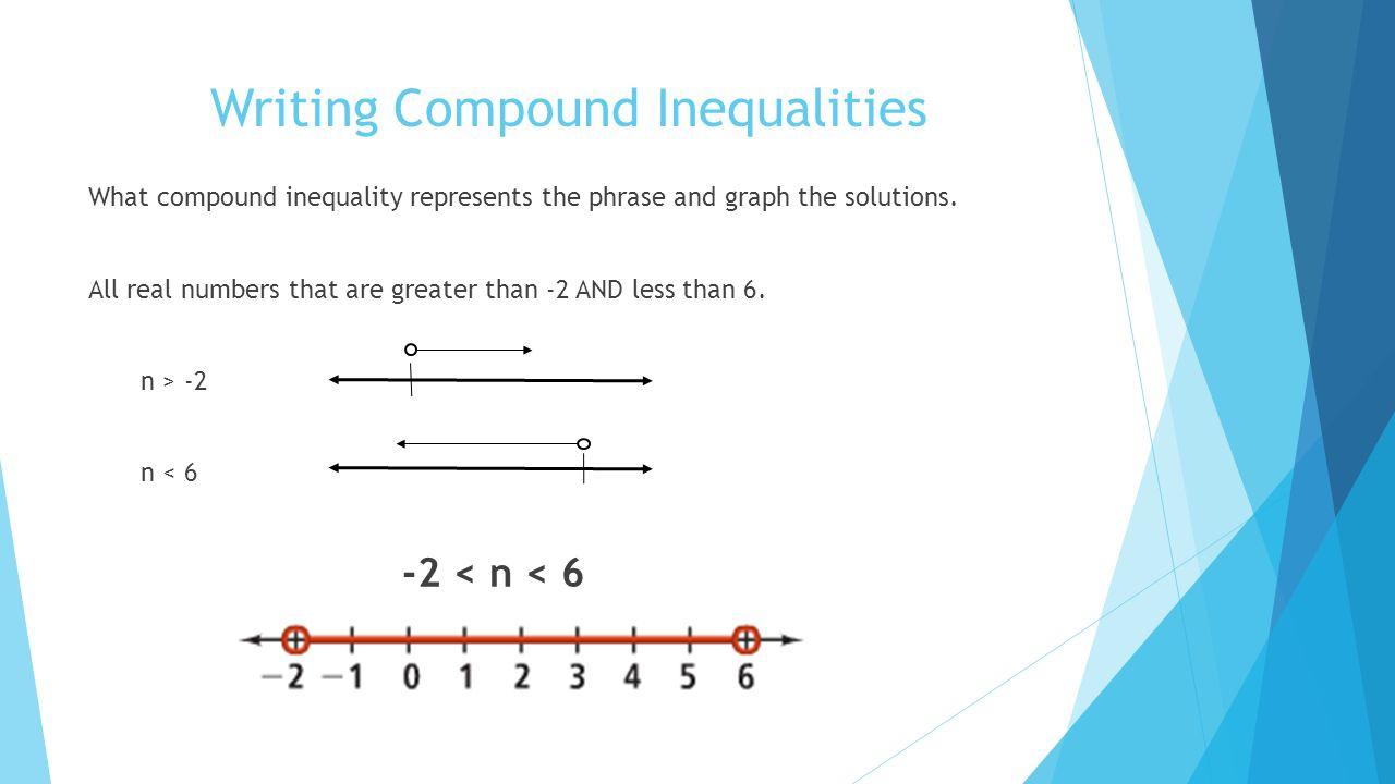 writing inequalities from a graph Write an inequality for the graph writing an equality from its graph, firstly identify the points on the number line then examine the direction of the graph points when graphing inequalities involving ≥ and ≤ signs, shown by dots a hollow dot is used if the inequality signs are.
