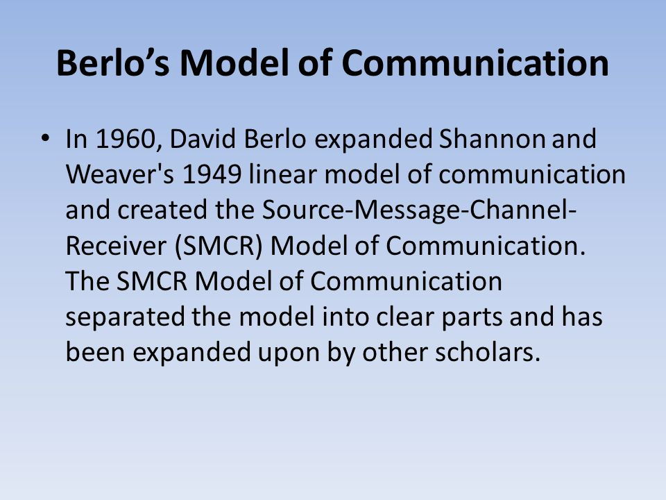 The Transmission Model of Communication