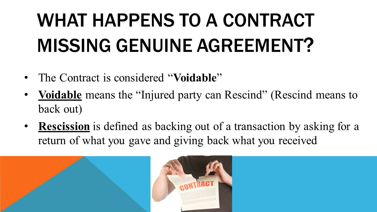 Lesson 8 1genuine agreement ppt download what happens to a contract missing genuine agreement platinumwayz