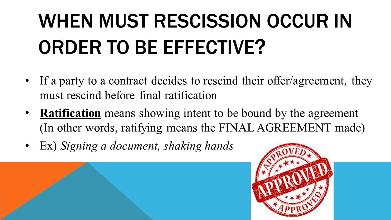 Lesson 8 1genuine agreement ppt download when must rescission occur in order to be effective platinumwayz