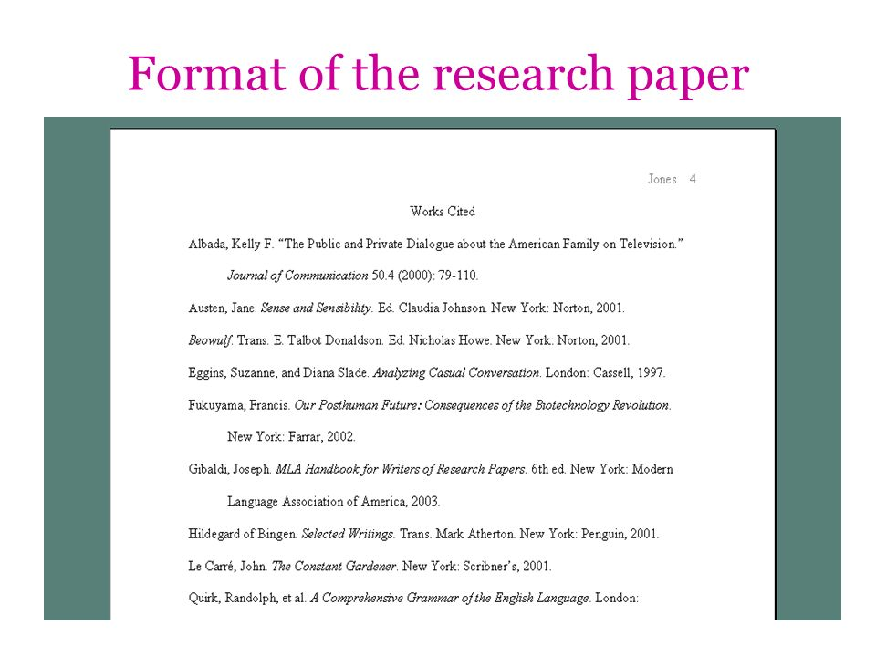 Format of the research paper
