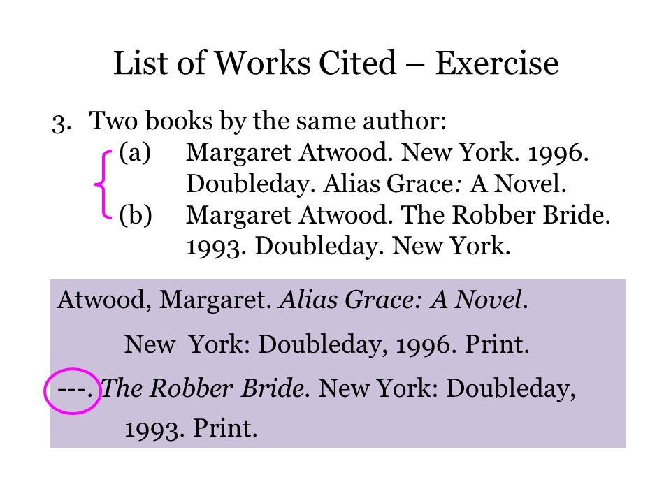 List of Works Cited – Exercise