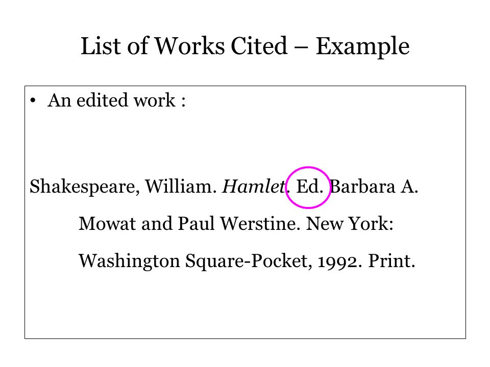 List of Works Cited – Example