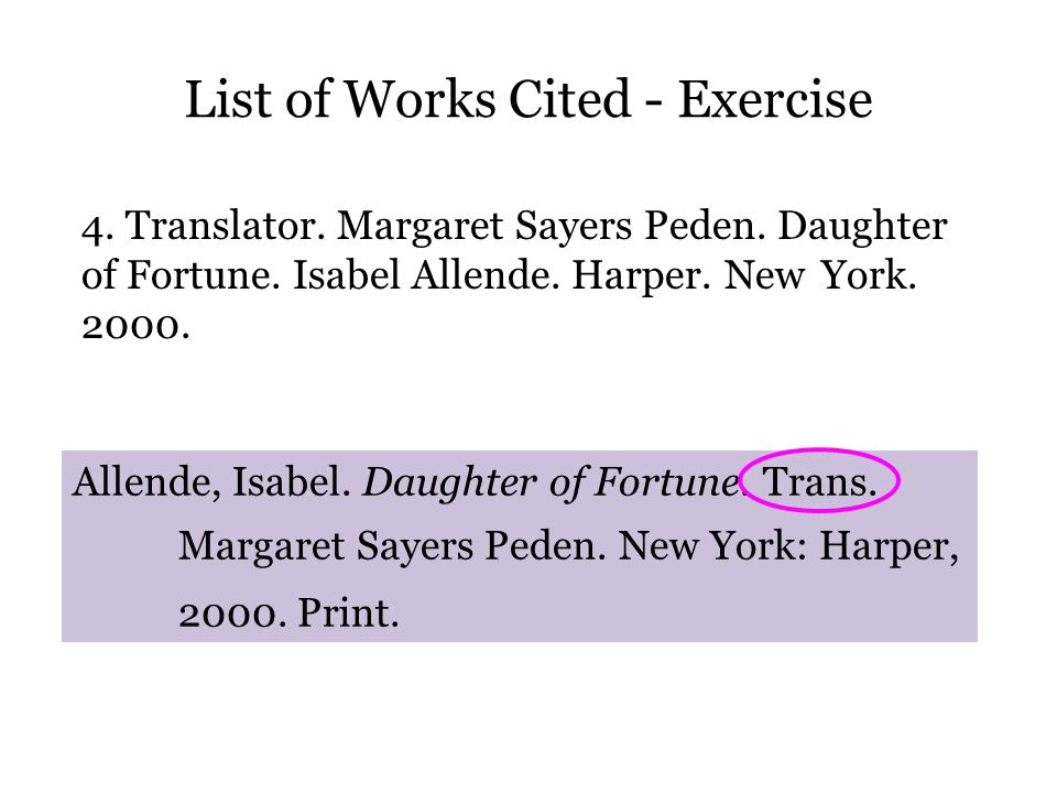 List of Works Cited - Exercise