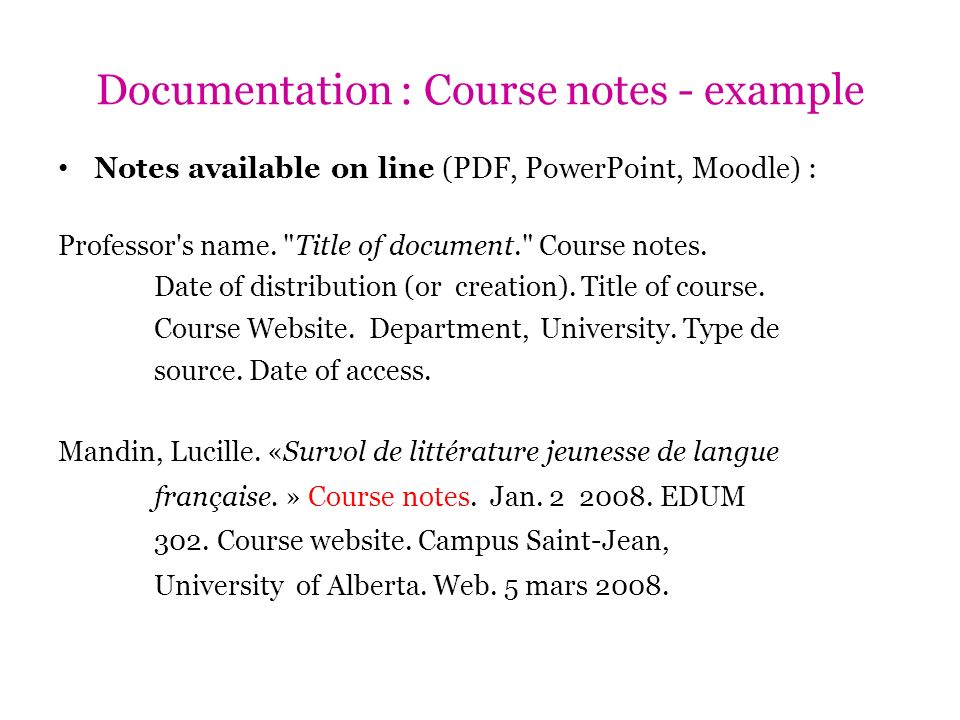 Documentation : Course notes - example