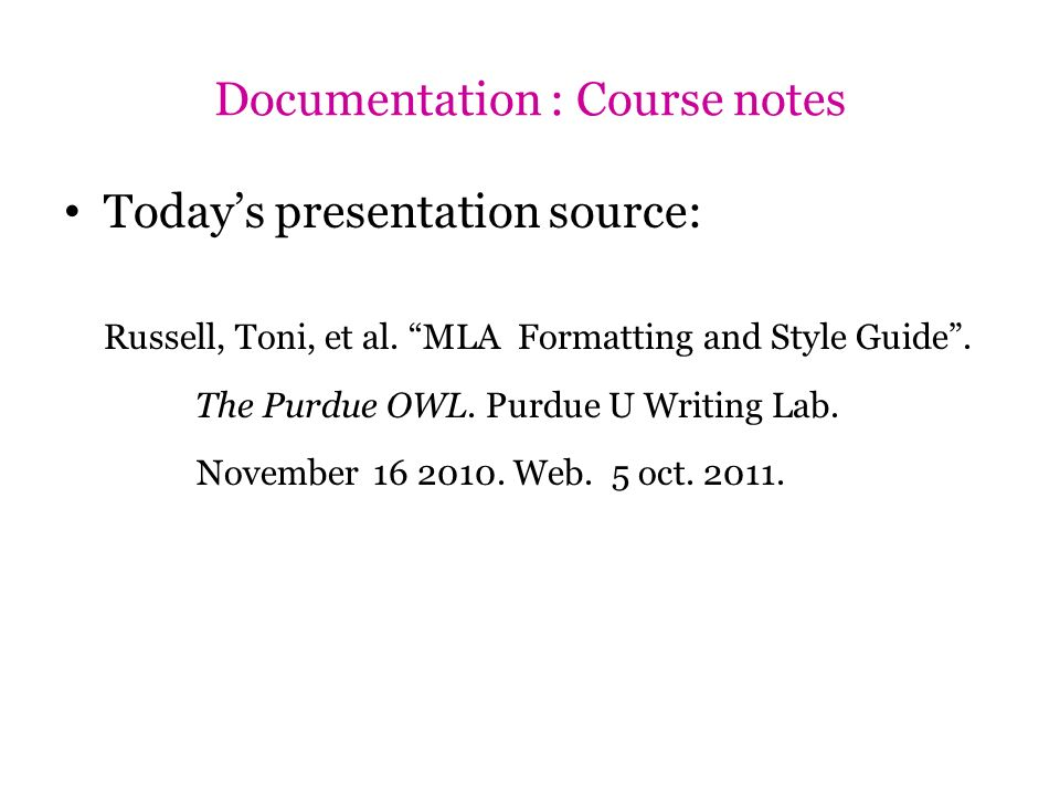 Documentation : Course notes
