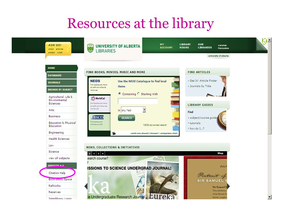 Resources at the library