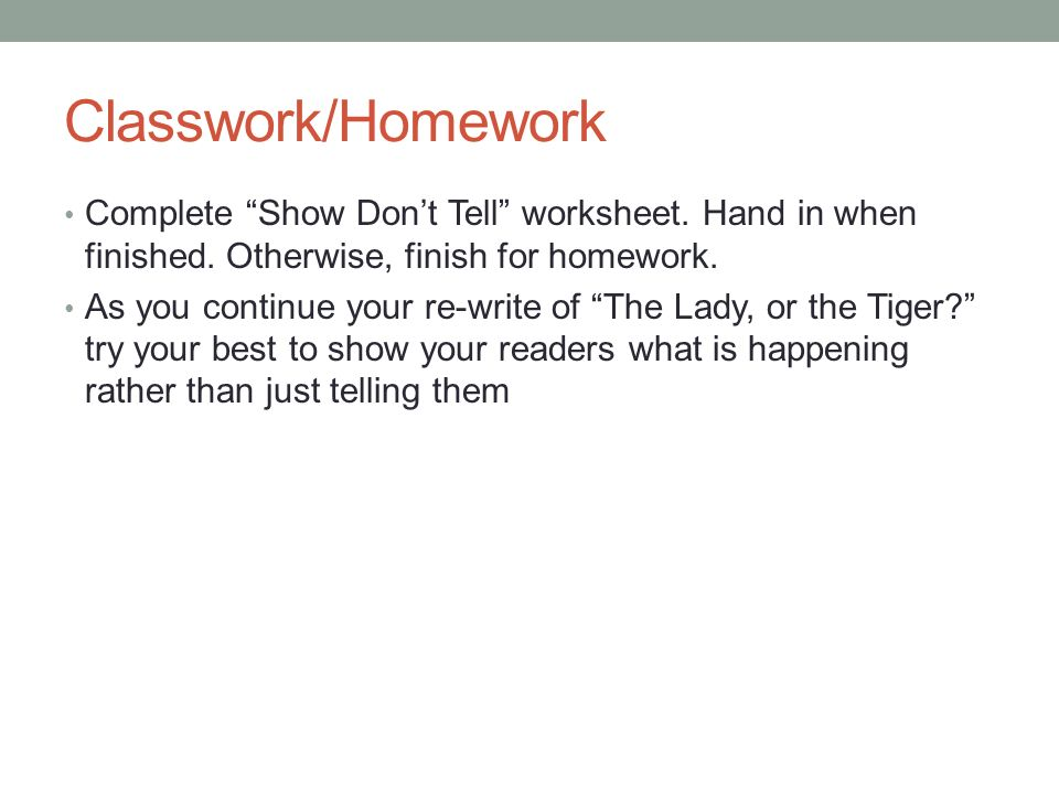 Do Now Take an Inference worksheet from my desk and start working – Show Don T Tell Worksheet