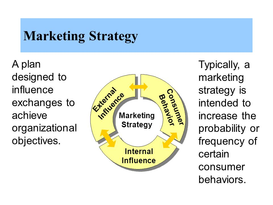 Marketing Strategy A plan designed to influence exchanges to achieve organizational objectives.