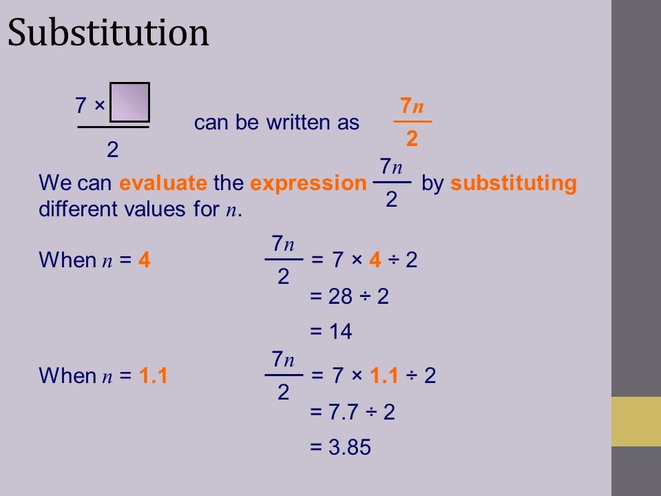 Substitution 7 × 2 7n 2 can be written as