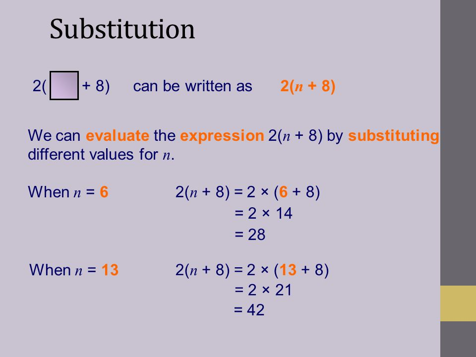 Substitution 2( + 8) can be written as 2(n + 8)