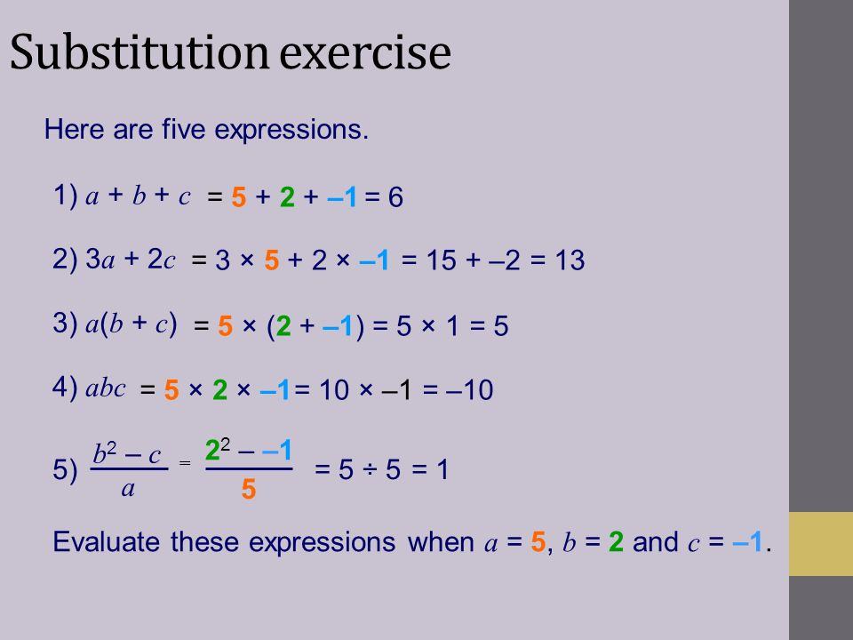 Substitution exercise