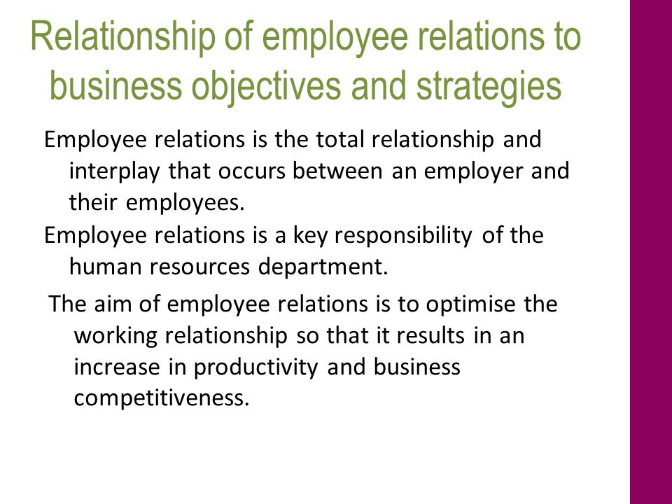 employer employee relationship objectives for resume