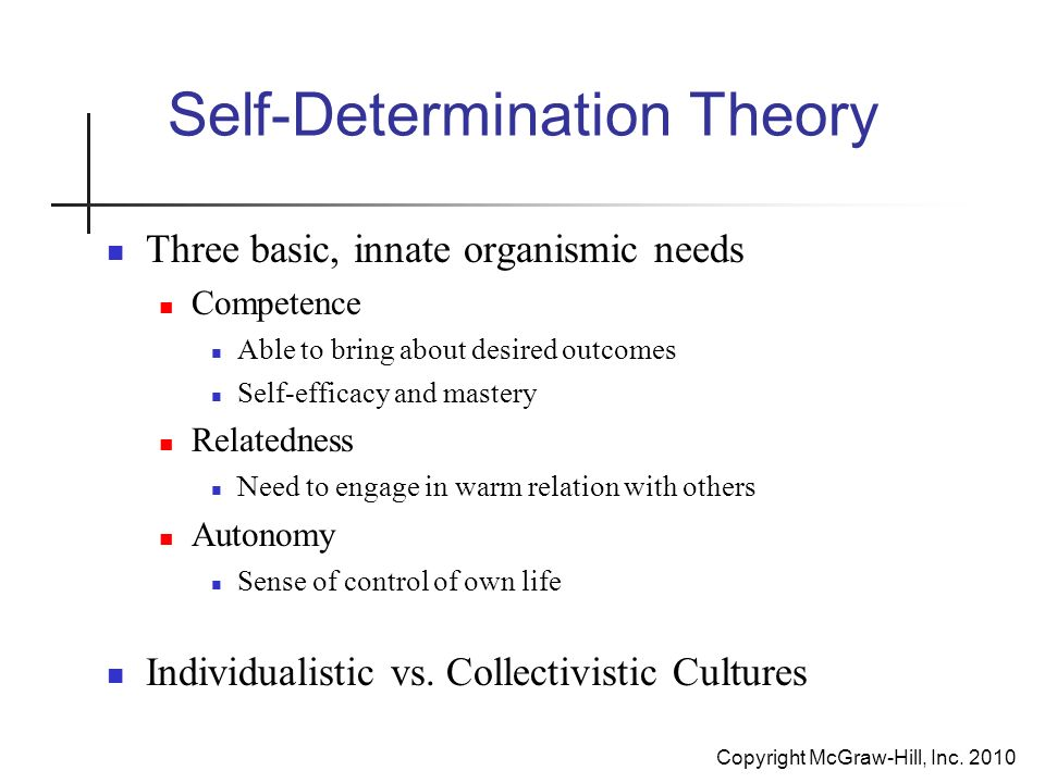 essay on self determination theory Psychology 20230 january 2017 self-determination in theory self-determination theory (sdt) was originated by edward l deci.