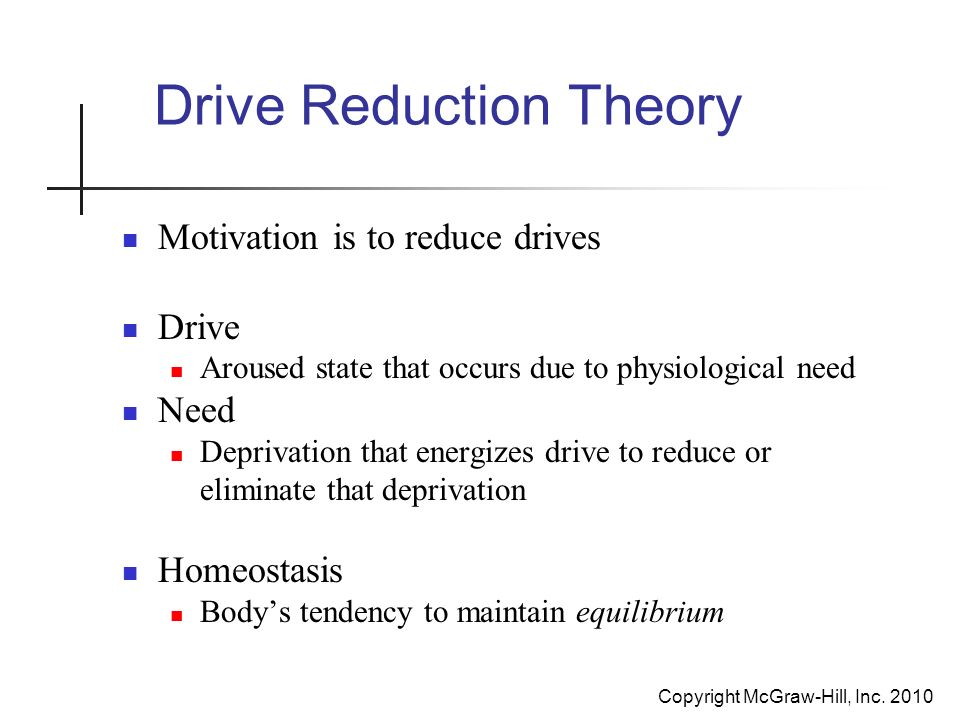 freud s drive theory motivation Freud stated clearly that the drive gets us going, but contemporary  the  consequences of eliminating drive from motivational theory, and.