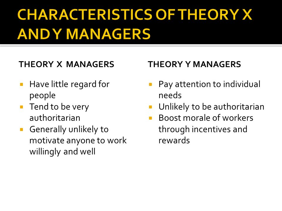 CHARACTERISTICS OF THEORY X AND Y MANAGERS