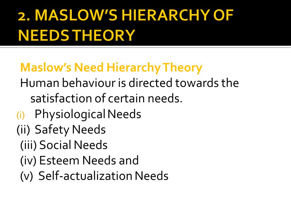 2. MASLOW'S HIERARCHY OF NEEDS THEORY