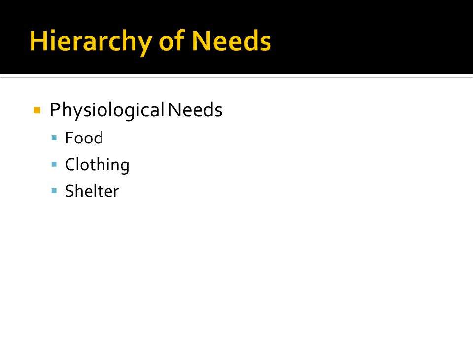 Hierarchy of Needs Physiological Needs Food Clothing Shelter
