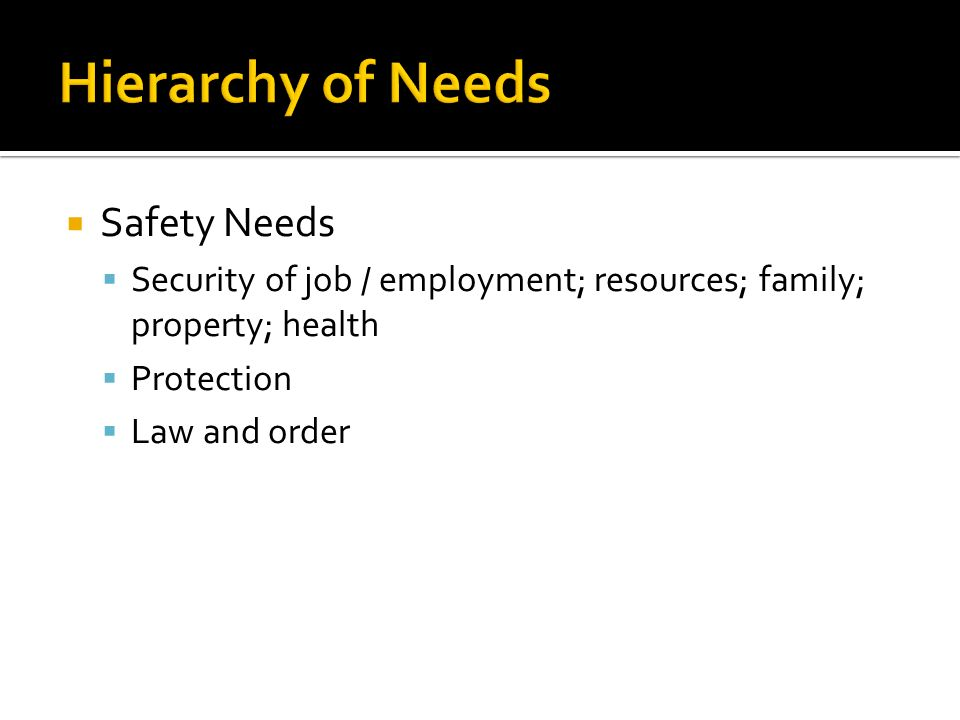 Hierarchy of Needs Safety Needs