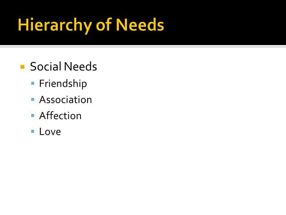 Hierarchy of Needs Social Needs Friendship Association Affection Love
