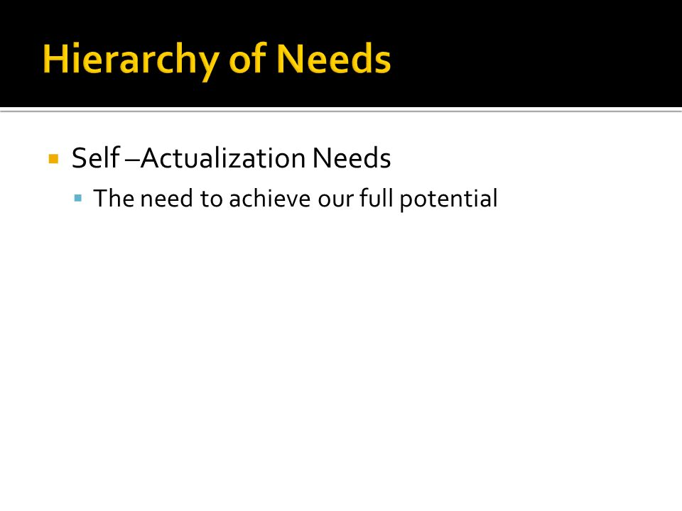 Hierarchy of Needs Self –Actualization Needs