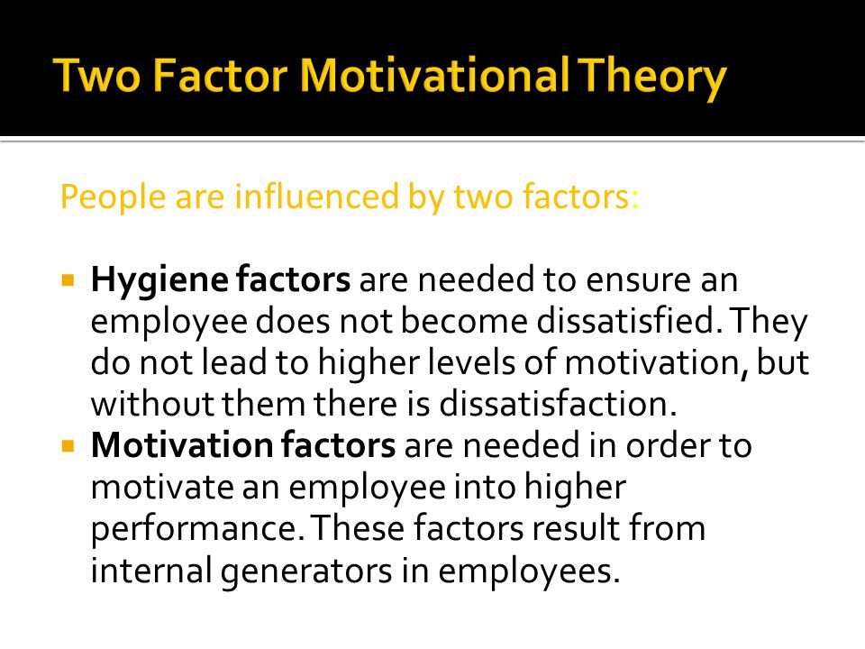 Two Factor Motivational Theory
