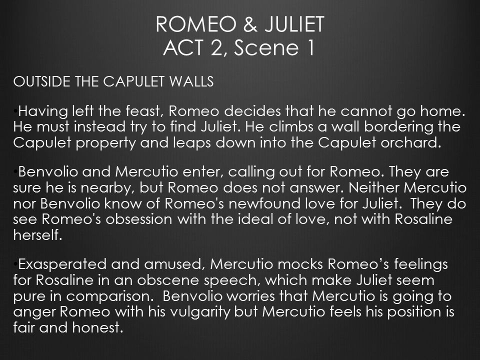 6 act 2 scenes 1 and Romeo and juliet teachers' pack shakespeare unlocked focuses on the following scenes and characters: act 2 scene 2 the balcony act 3 scene 1 the fight.
