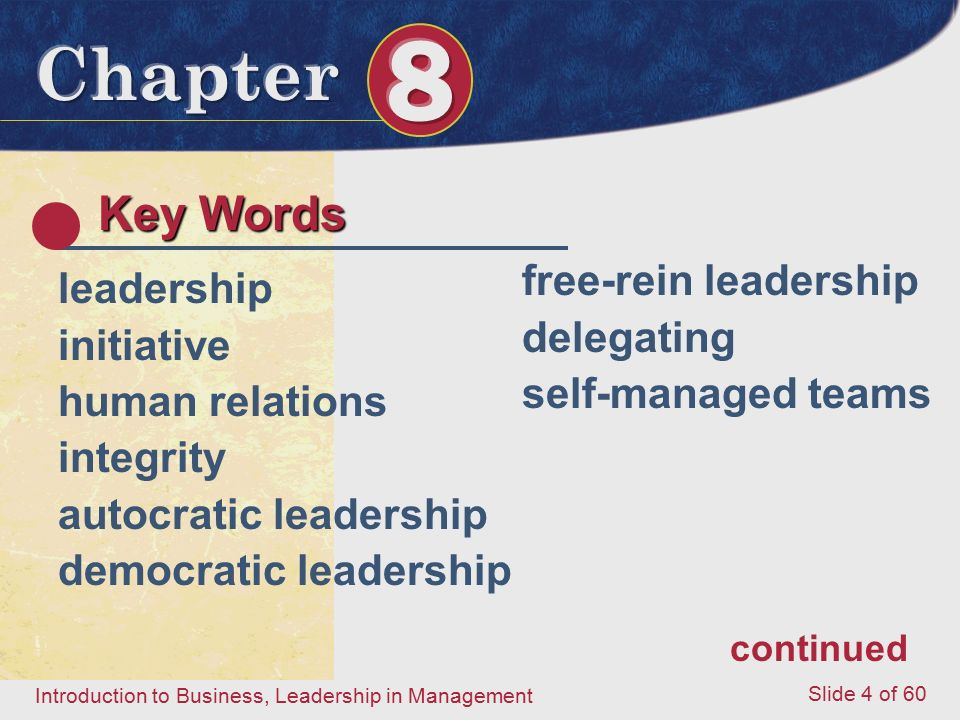 Key Words free-rein leadership leadership delegating initiative