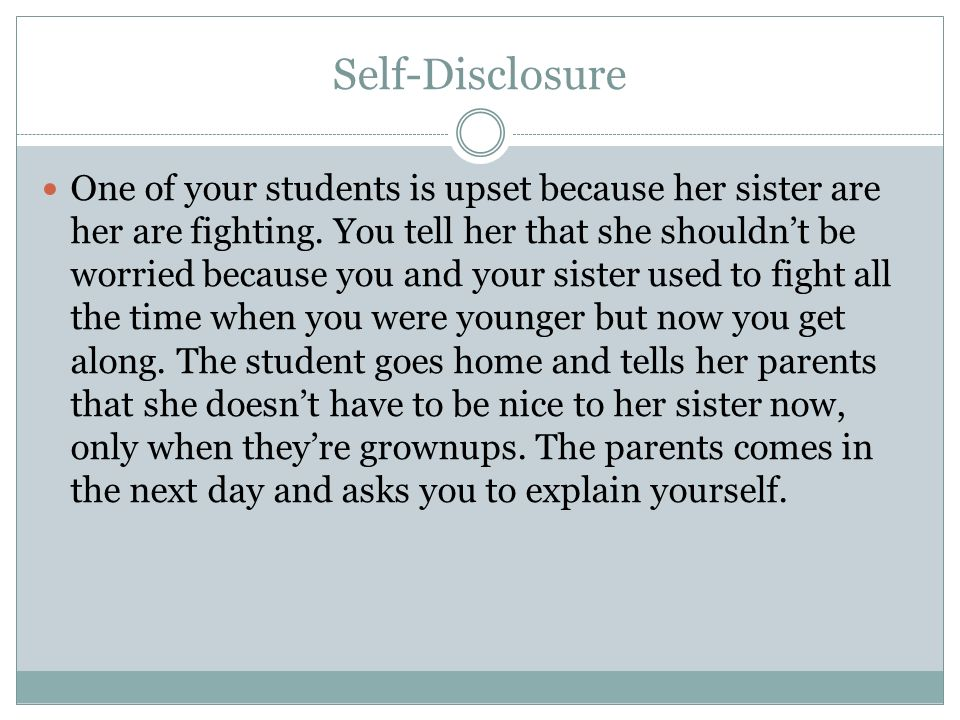 self disclosure affect your relationship