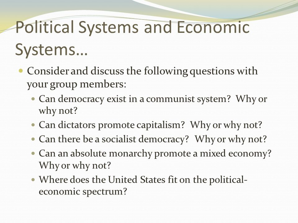 economic and political systems of the Political system of china refers to the political structure, fundamental laws, rules and regulation and practices that are implemented in mainland china,.