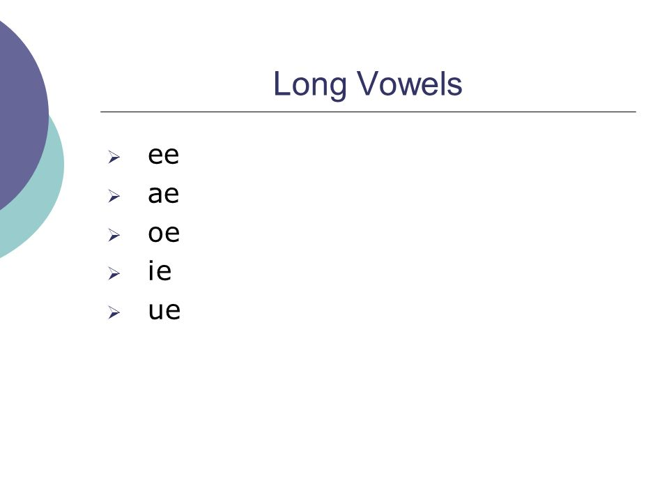 System of oe vowels and their