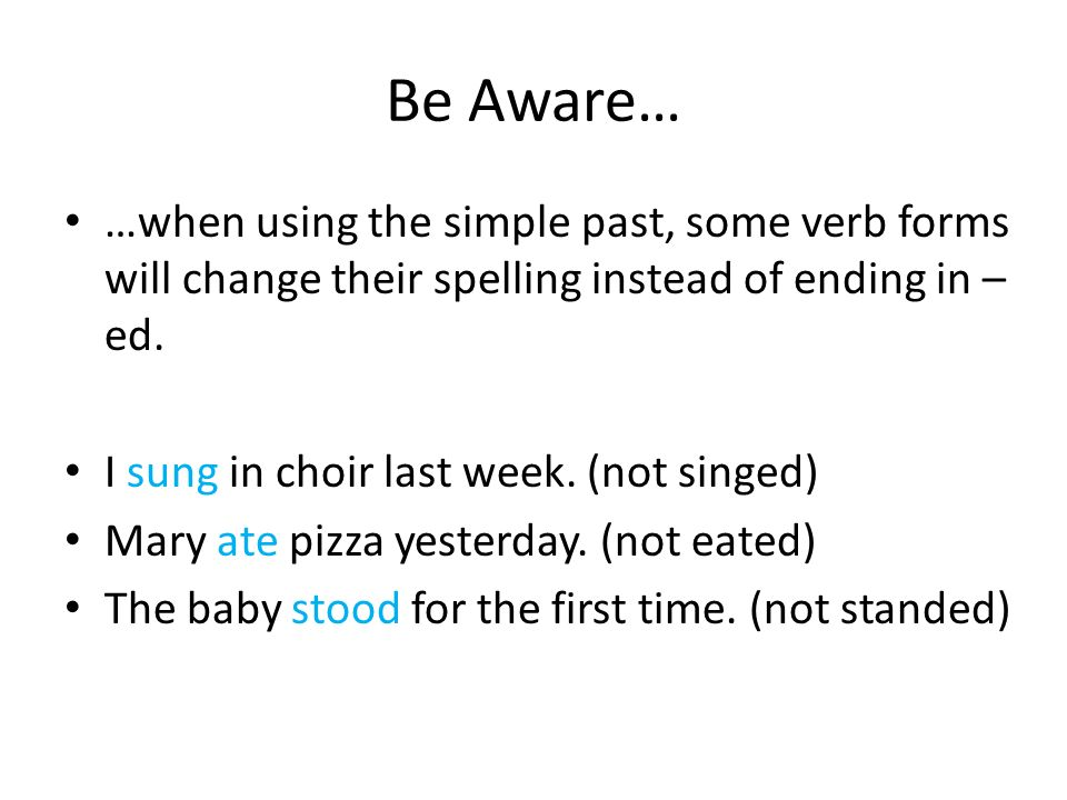 Verb Tense: The Simple Past - Ppt Video Online Download