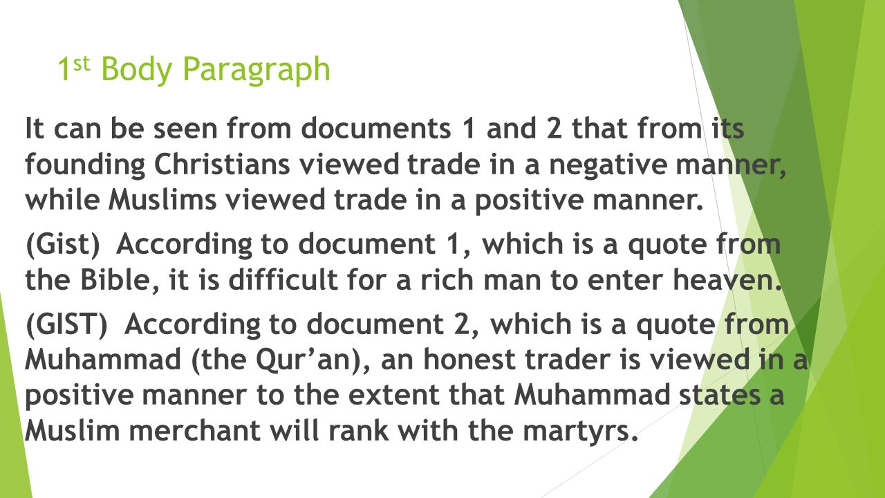 The attitudes of Christian and Islamic people toward merchants Essay Sample
