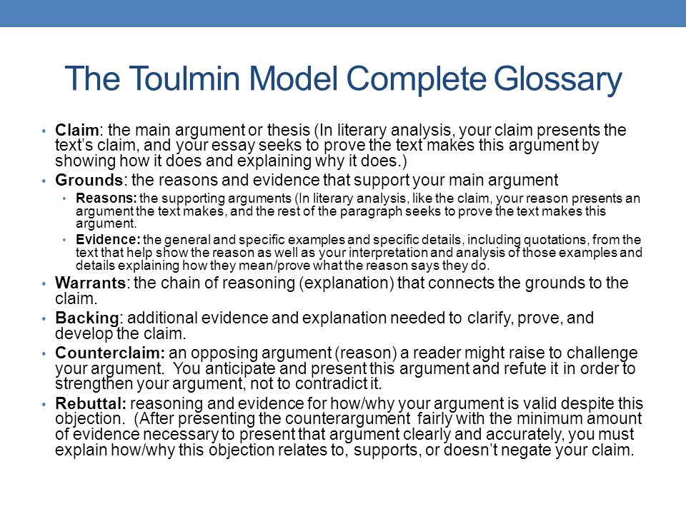 Essay which shows toulmin method