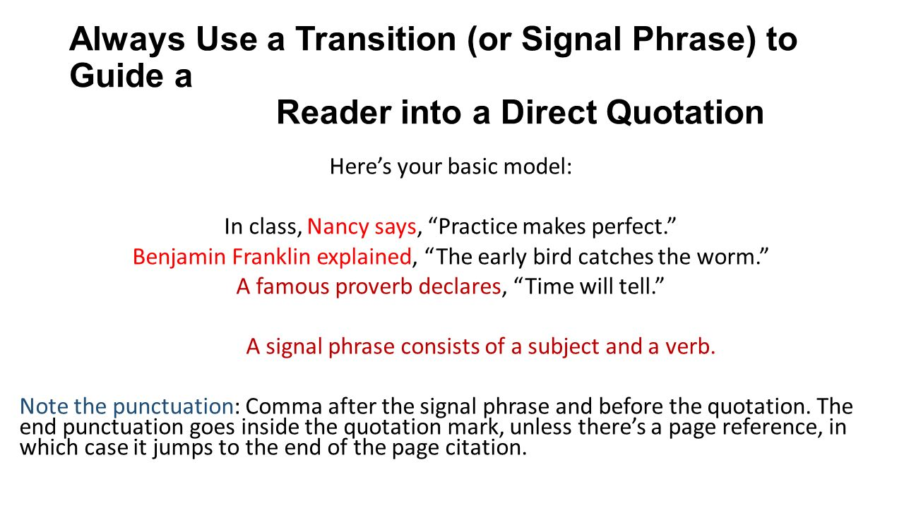 Direct Quote A Minilesson On Signal Phrases And Quotation Sandwiches  Ppt