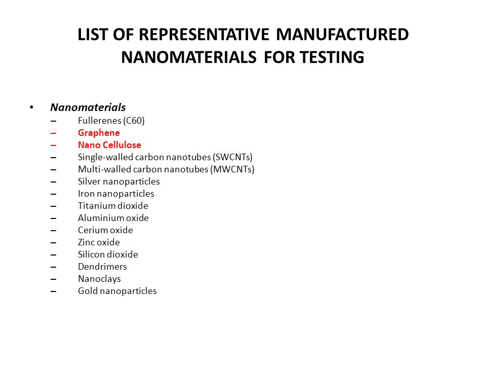 LIST OF REPRESENTATIVE MANUFACTURED NANOMATERIALS FOR TESTING